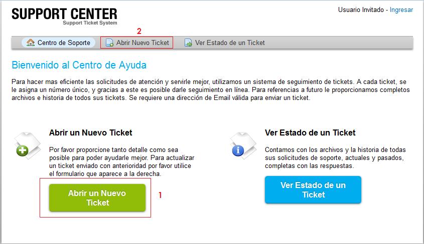 nuevo ticket