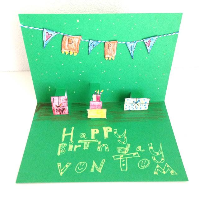 mit Strich und Faden: Geburtstagskarte mit Kindern PopUp
