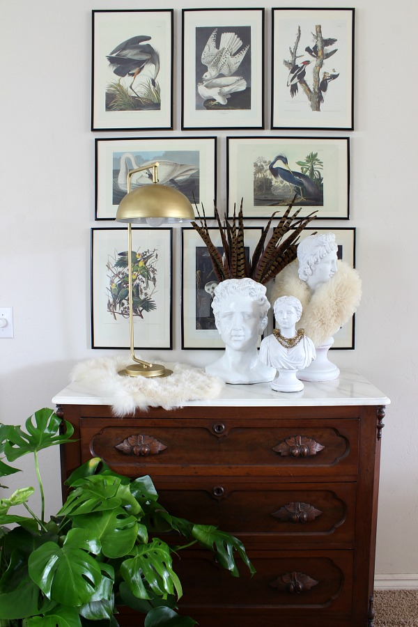vintage chest, antique furniture, plaster bust, pheasant feathers, audubon bird prints, gallery wall