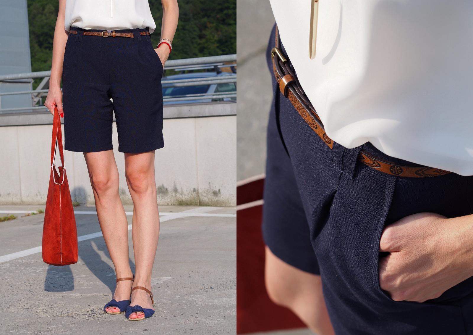 letný elegantný outfit do práce //  tmavomodré handmade šortky