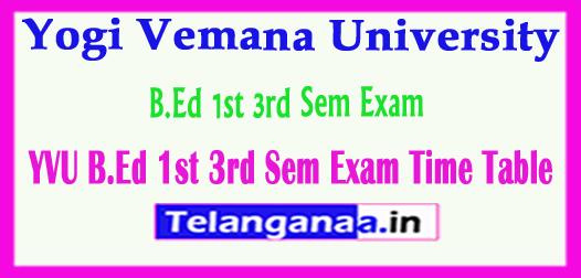 YVU Yogi Vemana University B.Ed 1st 3rd Sem Exam Time Table 2018