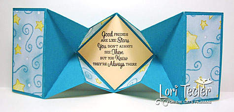 Good Friends Are Like Stars Diamond Fold card (back)-designed by Lori Tecler/Inking Aloud-stamps, dies, and cut file from The Cat's Pajamas