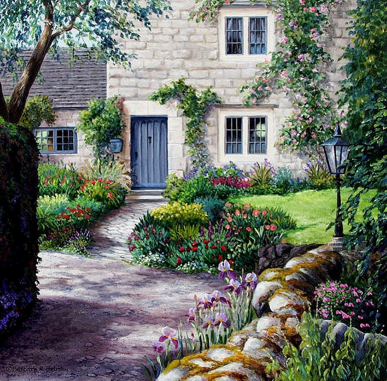paisajes-con-jardines-y-flores-pintados-al-oleo