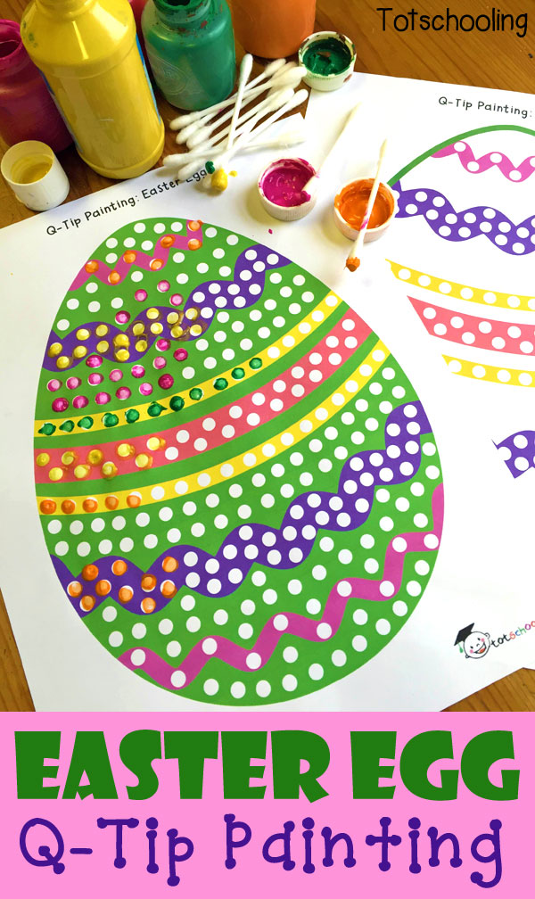 Painting Easter eggs with Q-tips and free printable included. Low-prep, low-mess Easter activity for kids!