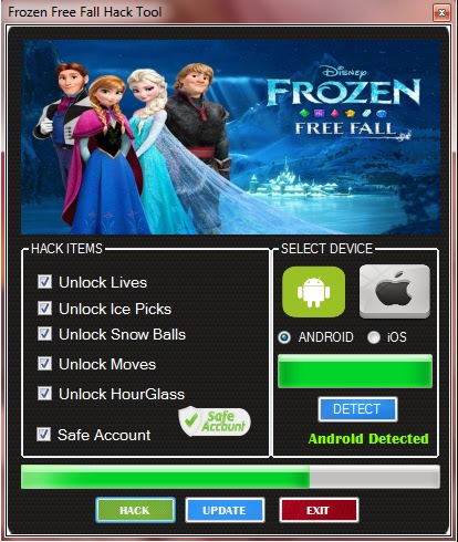 Download Free Frozen Free Fall (All Versions) Hack Unlimited Lives,Ice Picks,Moves,Snow Balls,Hourglass 100% working and Tested for IOS and Android MOD.