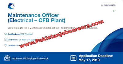 ICI Pakistan Limited Jobs 2019 for Maintenance Officers Latest