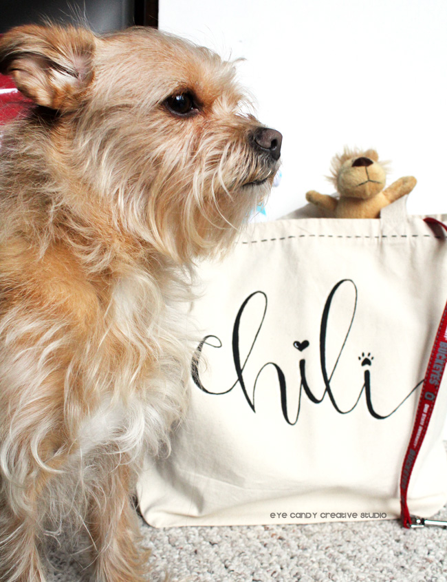 puppy love, hand lettered tote bag, pack your bag, what's in a dog's bag