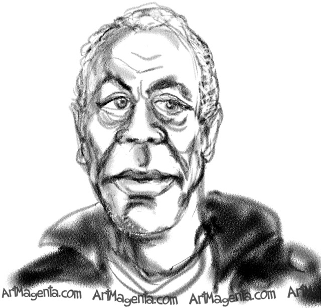 Danny Glover caricature cartoon. Portrait drawing by caricaturist Artmagenta