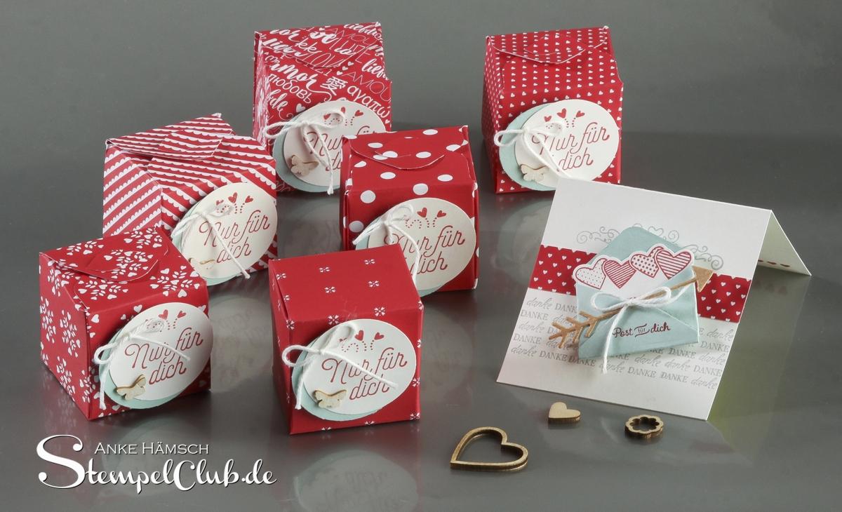 Gastgeschenke für meine Workshopteilnehmer, Valentin, Miniboxen mit dem Punchboard für Ferrero Rocher
