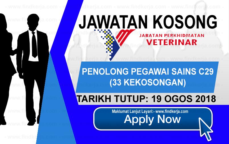 Jawatan Kerja Kosong Jabatan Perkhidmatan Veterinar logo www.ohjob.info www.findkerja.com ogos 2018