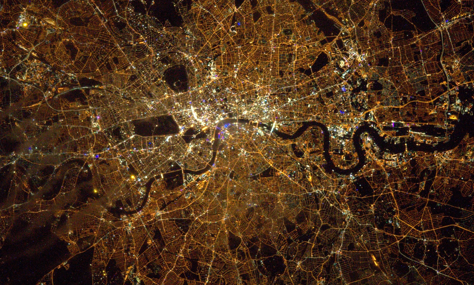 London at Night seen from the International Space Station ...