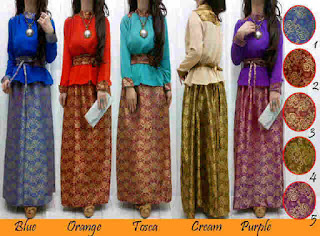 Gamis Songket Kombi Sifon fit to L