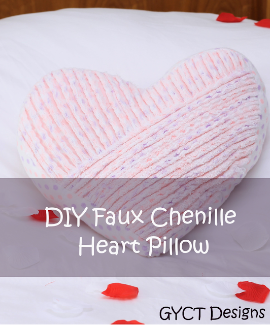 DIY Faux Chenille Valentine Heart Pillow Tutorial