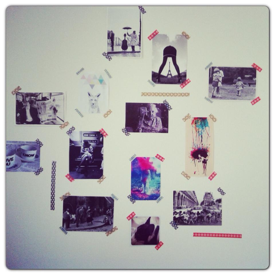 f e des trouvailles diy mon mur de masking tape. Black Bedroom Furniture Sets. Home Design Ideas