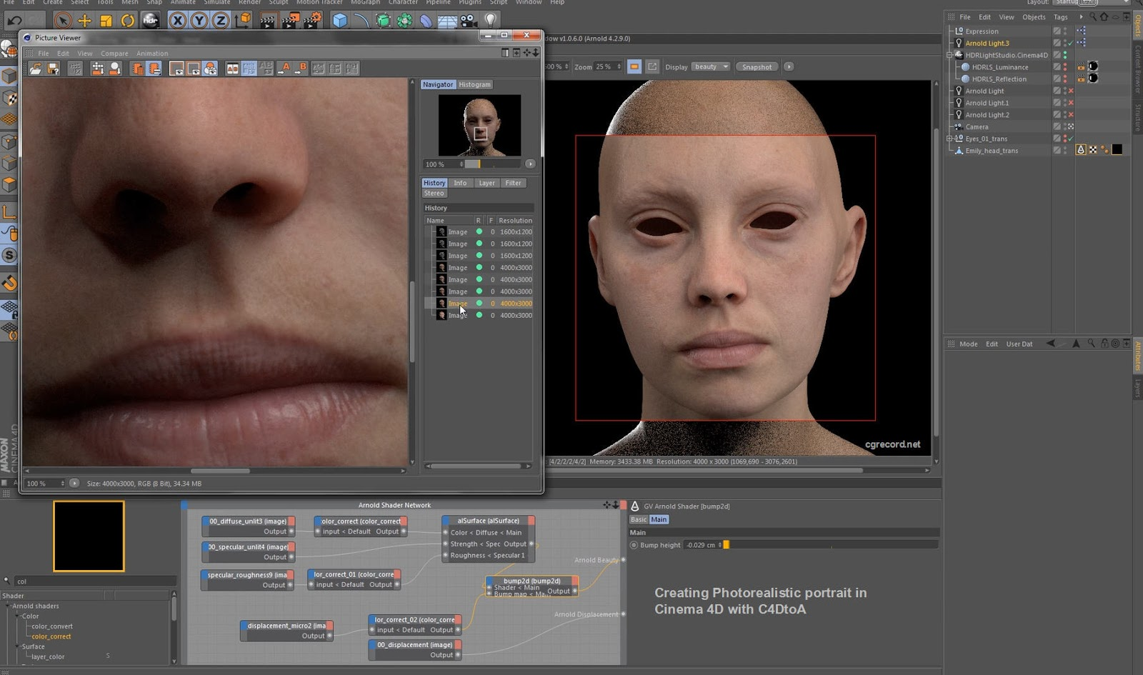 Character Design Cinema 4d Tutorial : Arnold for c d tutorial creating photorealistic portrait in