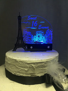 Eiffel Tower Light Up Wedding Cake Topper