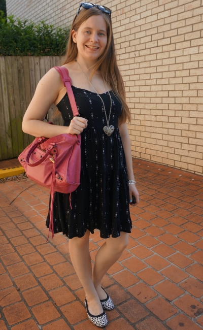little black printed tiered babydoll dress with leopard print flats and pink Balenciaga sorbet city bag | awayfromblue