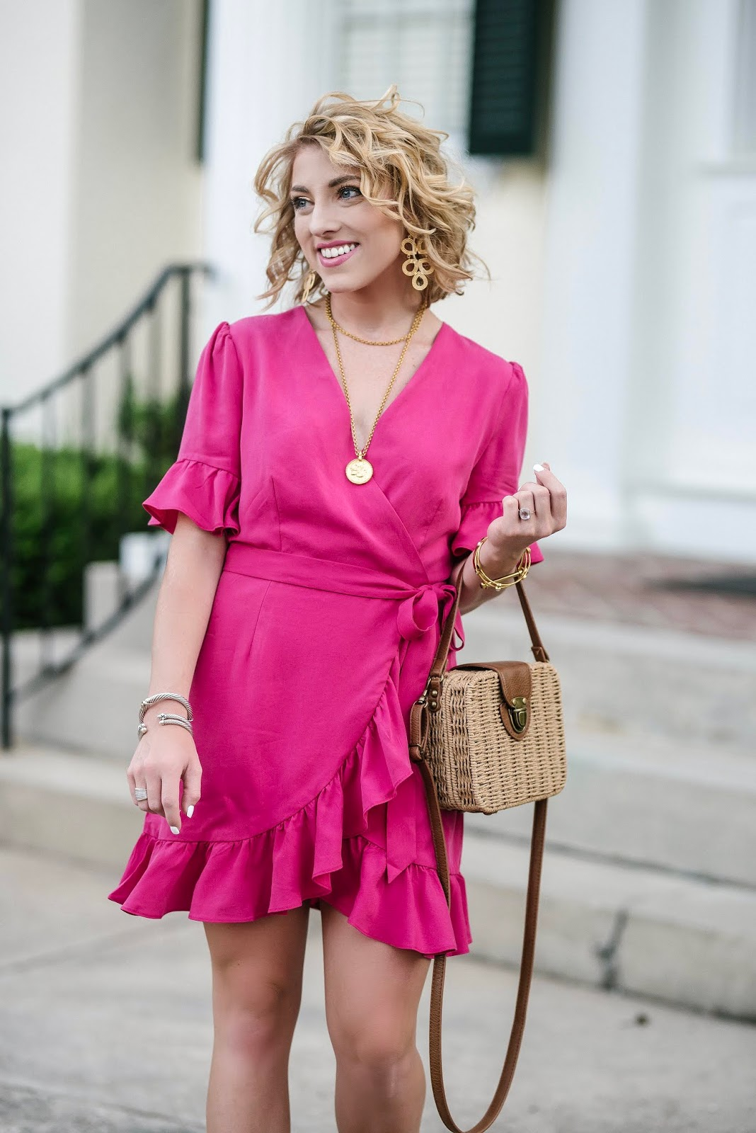Little Pink Ruffle Wrap Dress - Something Delightful Blog