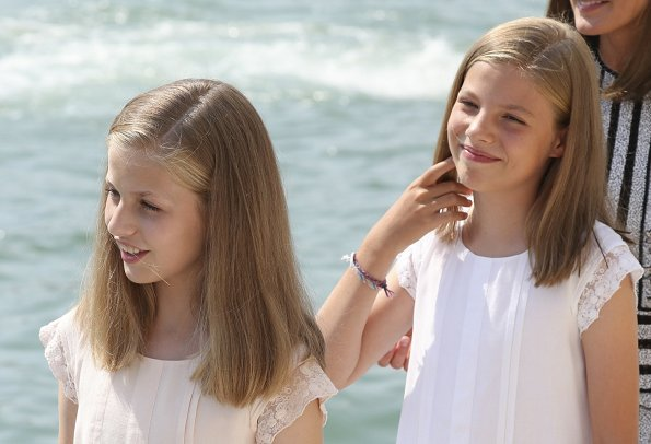 Queen Letizia, Princess Leonor and Infanta Sofia of Spain visited the Royal Nautical Club the last day of the 37th Copa del Rey Mapfre sailing cup