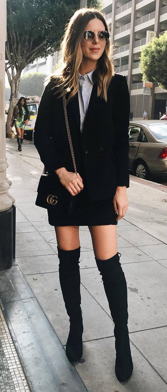 ootd: jacket + skirt + bag + over the knee boots + shirt