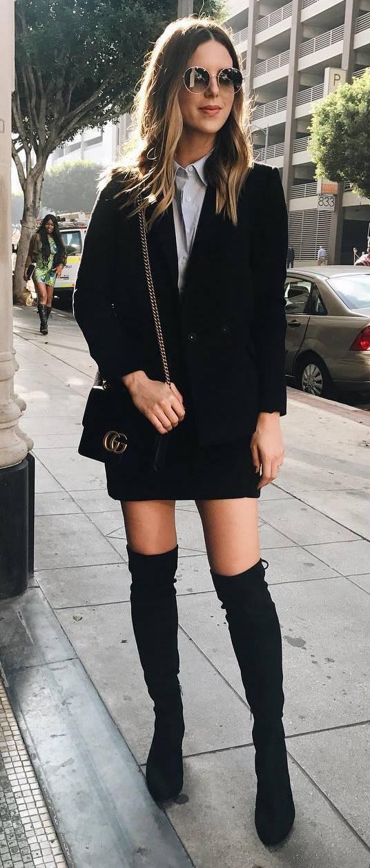 ootd: jacket + skirt + bag + over the knee boots + shirt