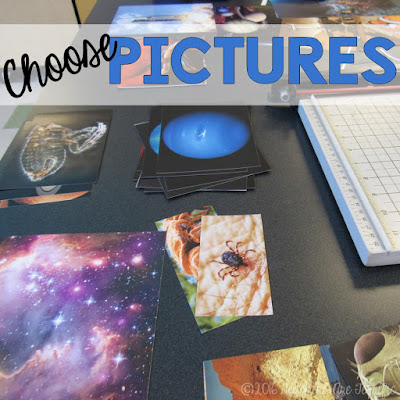 Science Bulletin Boards: Here's an easy and fun way to decorate a board for your science classroom! Step 1 is to choose the pictures!