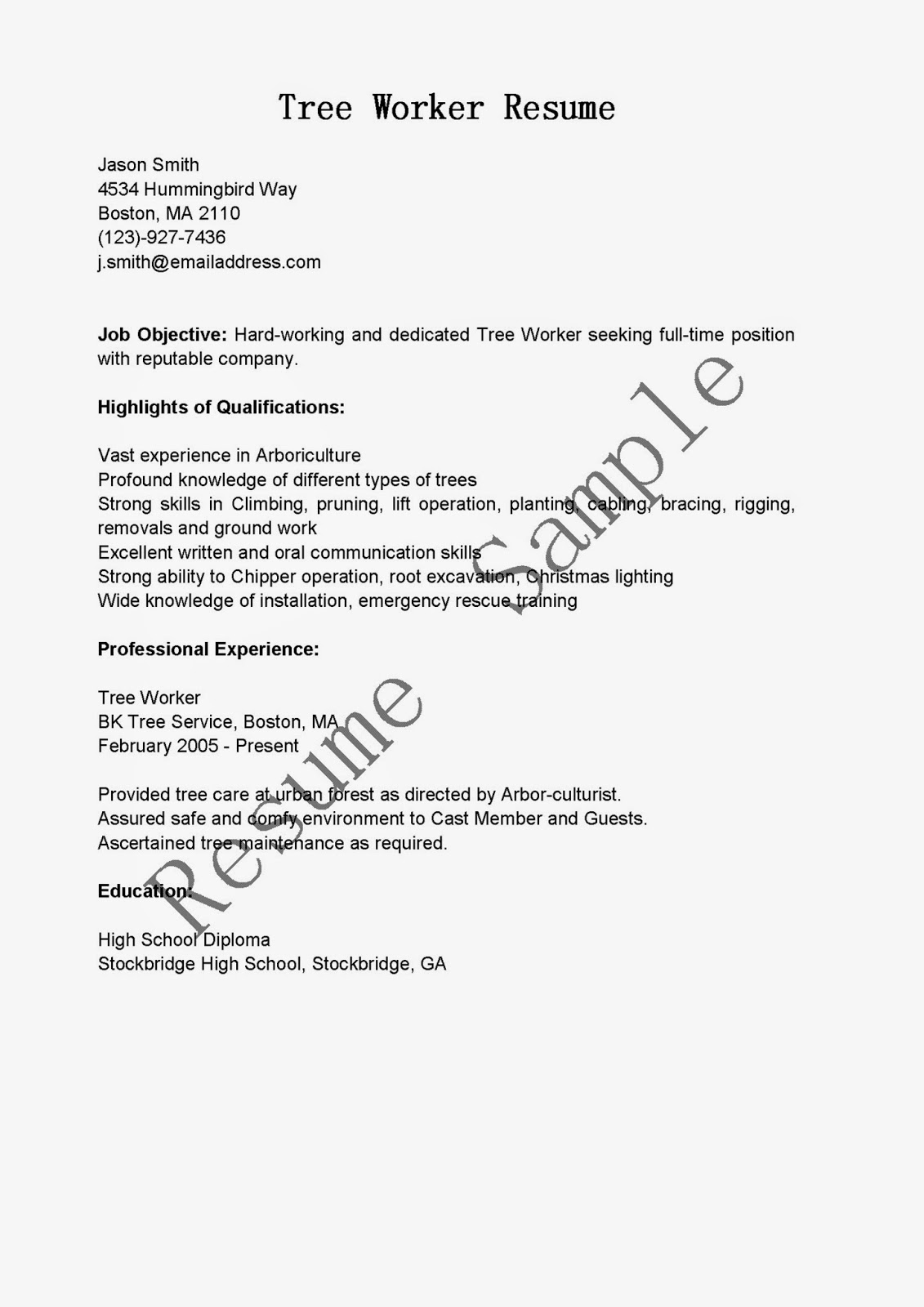 resume samples  tree worker resume sample