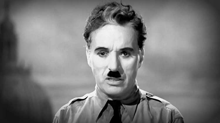 Charlie Chaplin gives his famous last speech in The Great Dictator.