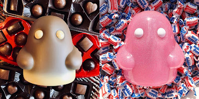 """Chocolate Truffle"" & ""Bubblegum & Sugar"" Editions Tiny Ghost Vinyl Figure by Reis O'Brien (of Bimtoy) x Bottleneck Gallery"