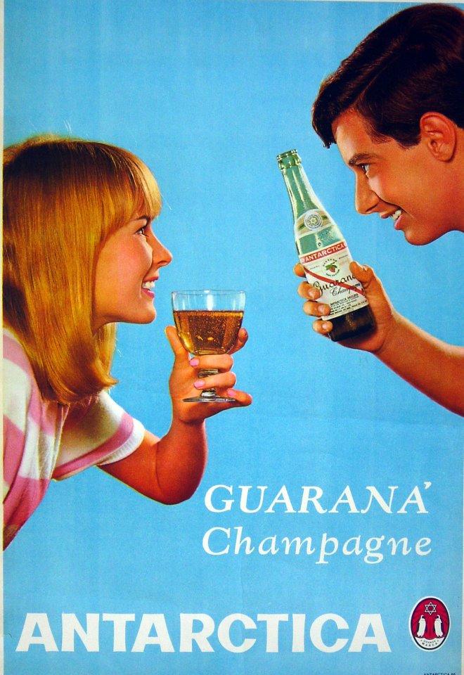 Cartaz publicitário para promover o Guaraná Antártica nos anos 60