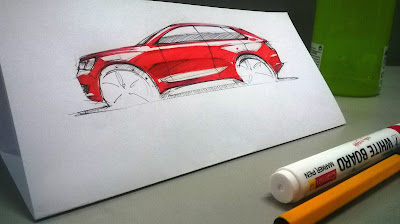 Car Sketch Audi Red