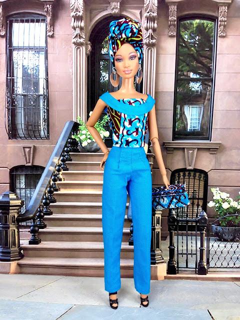 Aqua-blue African Print Pant Suit