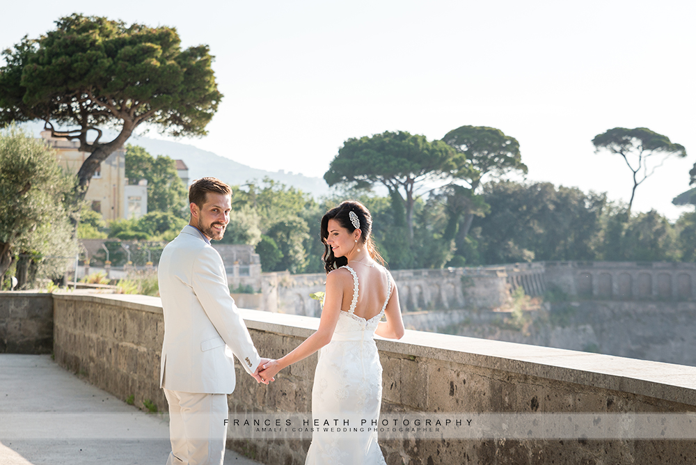Bride and groom at Villa Fondi