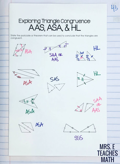 Congruent Triangles Interactive Notebooks for High School Geometry Interactive Notebooks