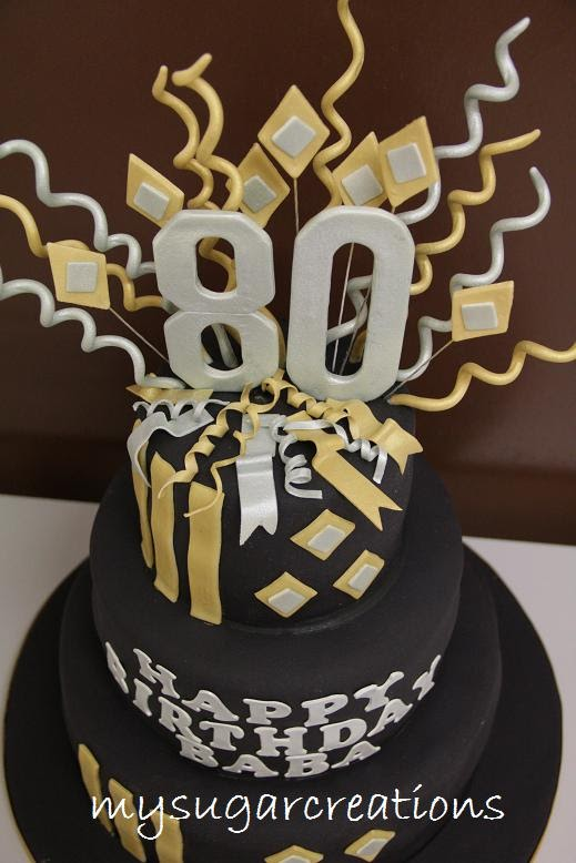My Sugar Creations 001943746M Gold Silver 80th Birthday Cake