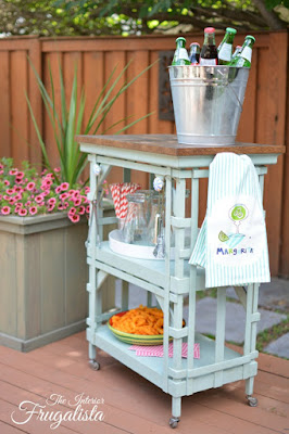 Repurposed Wooden Table Into Portable Patio Beverage Bar Cart