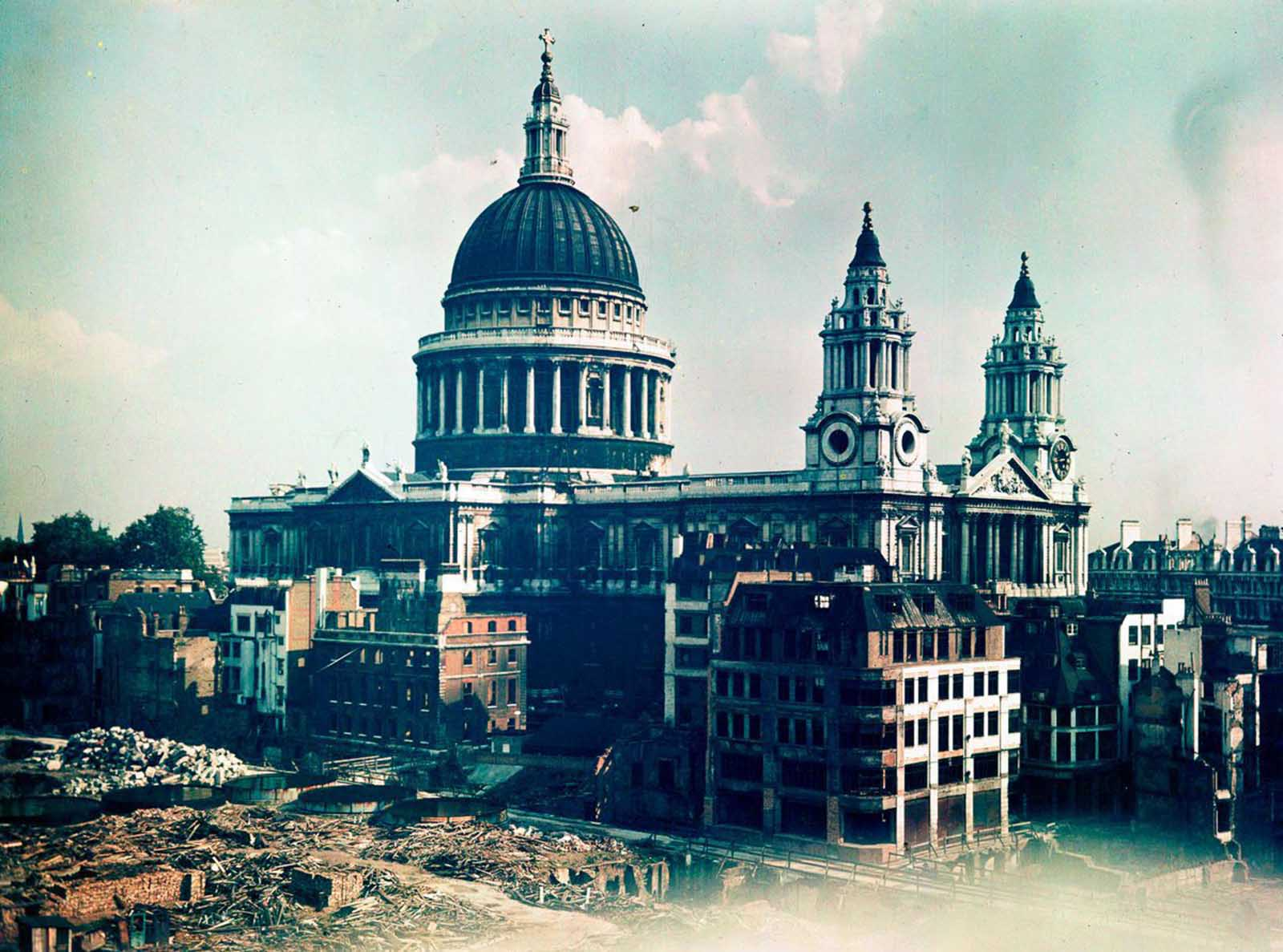 St. Paul's cathedral stands intact amid buildings destroyed by bombing. Dec. 10, 1943.