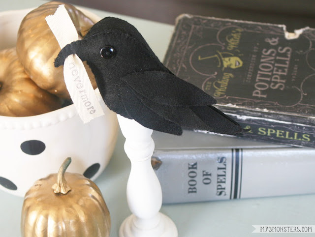 DIY Poe-Inspired Raven Halloween Decor by my3monsters.com for Lolly Jane