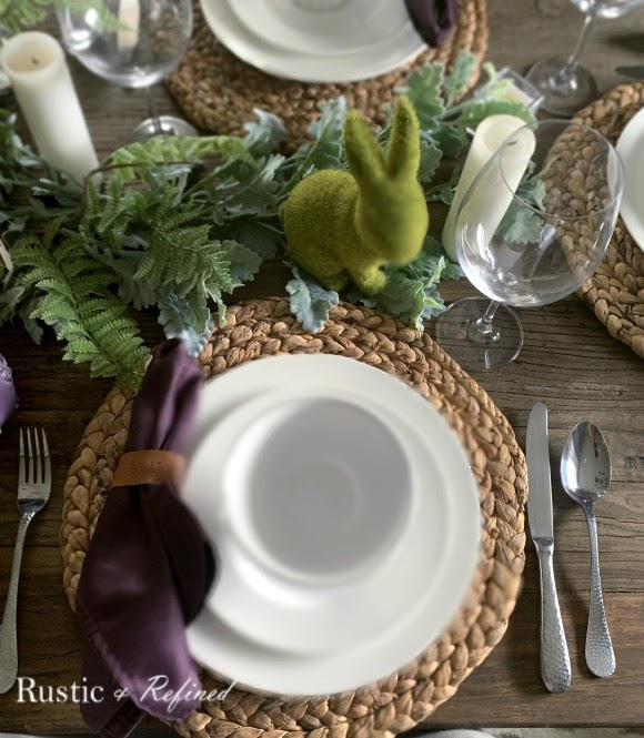Gorgeous tablescape with rustic touches and spring color using everyday dishes.