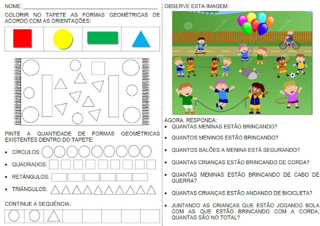 Atividades com figuras geométricas e interpretação de cenas