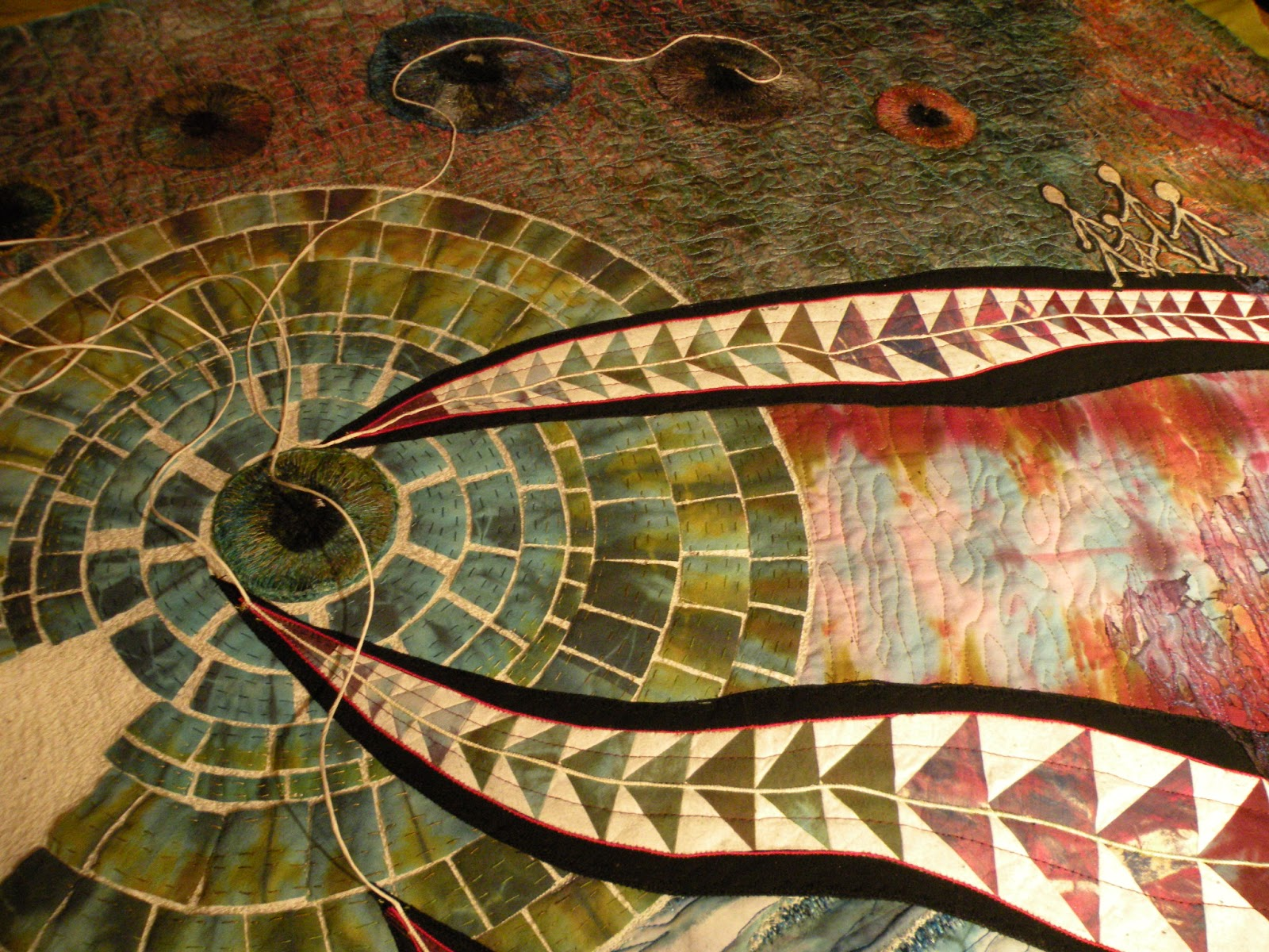 Quist tassen : Kleurdesign met mijn art quilt vlucht een prijs gewonnen