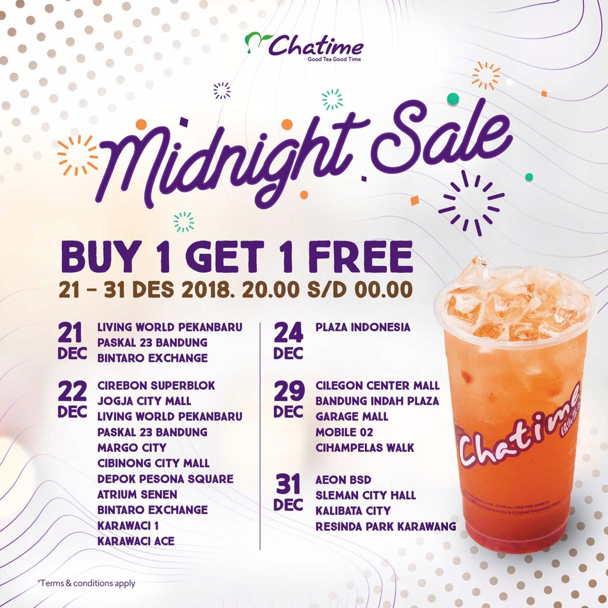 #Chatime - Promo Buy 1 Get 1 Fee Di Midnight Sale (s.d 31 Des 2018)