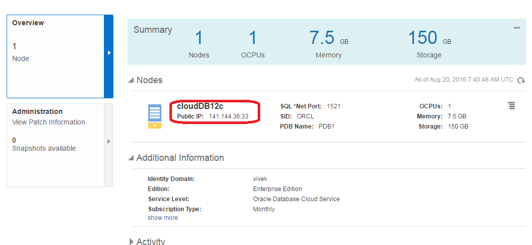 Oracle Database Cloud Service Instance Details