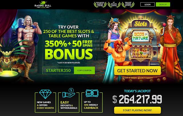 Raging Bull casino 350% bonus ad 50 free spins