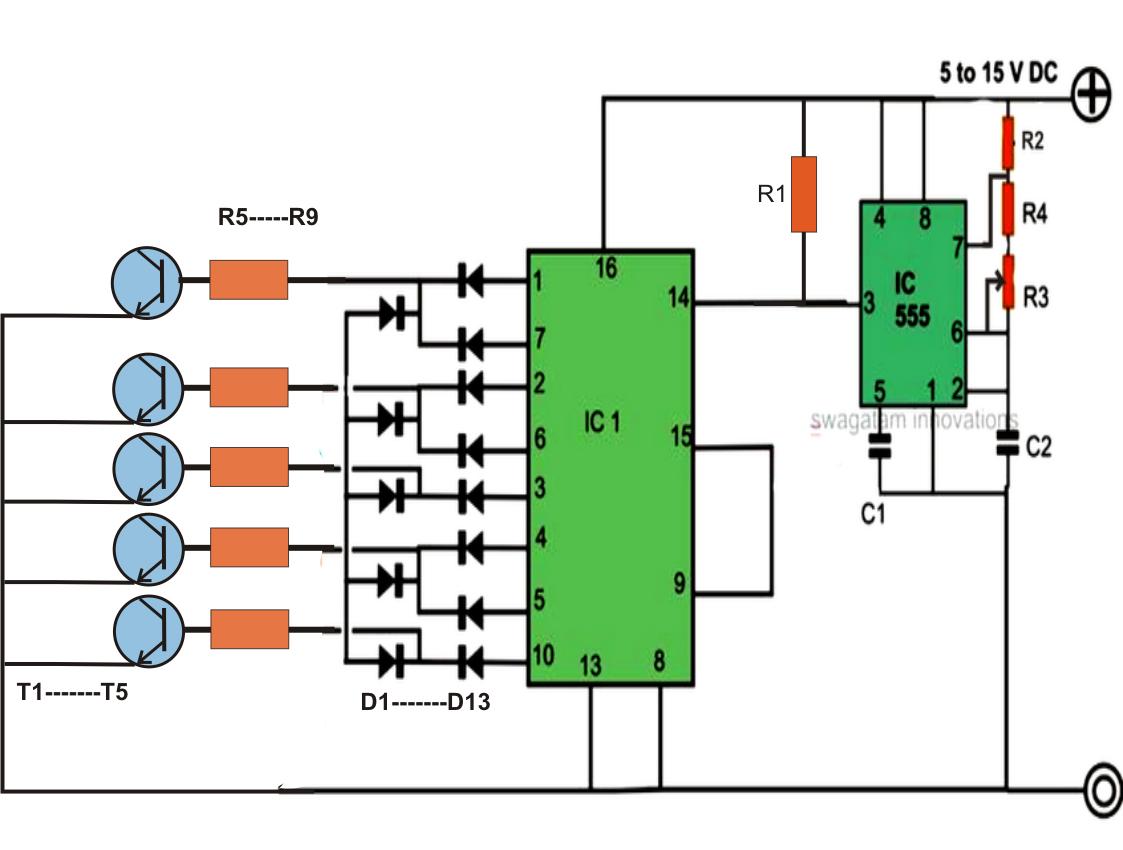 200 LED Reverse Forward Light Chaser Circuit