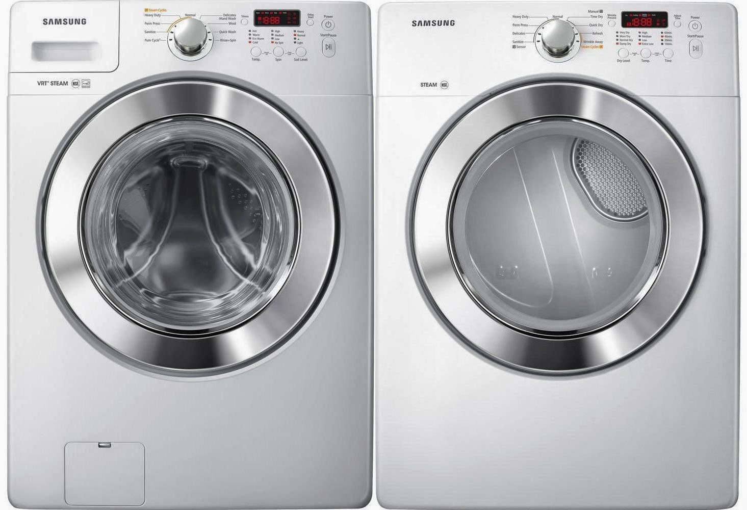 samsung front load laundry set with vrt plus tech and steam