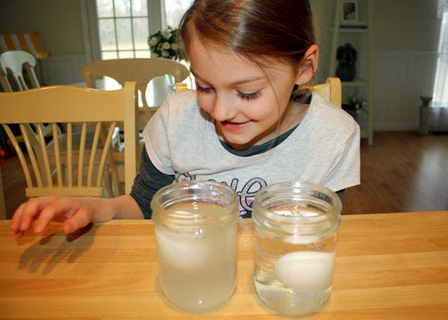Tessa found it fascinating that an egg placed in super salty water floats!