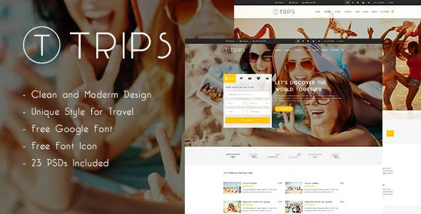 Trips | Travel Booking Site PSD Template