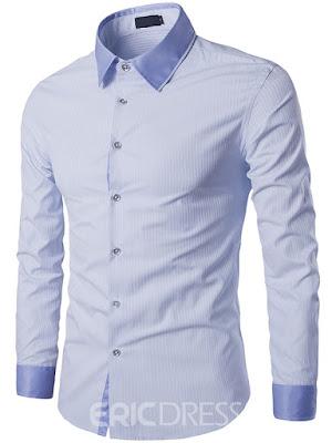 Ericdress Patchwork Collar Long Sleeve Hidden Stripe Slim Men's Shirt