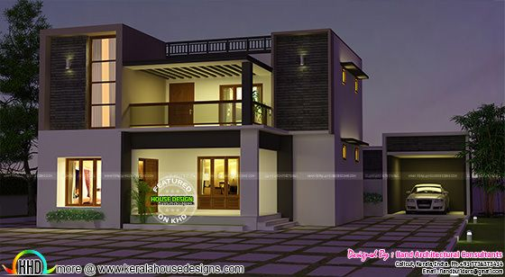 Flat roof 3680 sq-ft 3 bedroom home